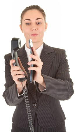 emotional woman in business clothing with a telephone photo