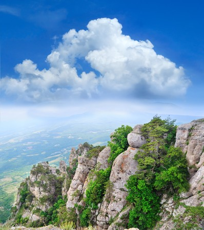 ramble: magical view from the mountains to the valley Stock Photo
