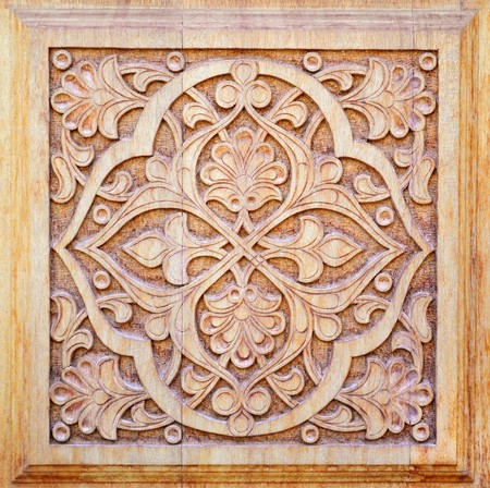 Traditional east pattern (decoration) on wood products 스톡 사진