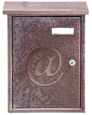 isolated metal rusty mailbox on white background photo