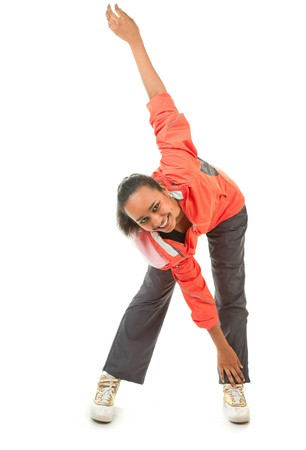 portrait of a dark-skinned girl in a red sports clothes Stock Photo - 7720455