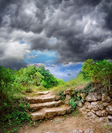 step stone staircase in the ruins of the ancient cave city Stock Photo - 8146064