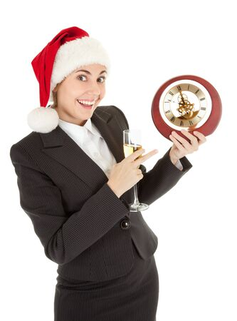 portrait of business girl in Santa hat and with champagne Stock Photo - 8145949