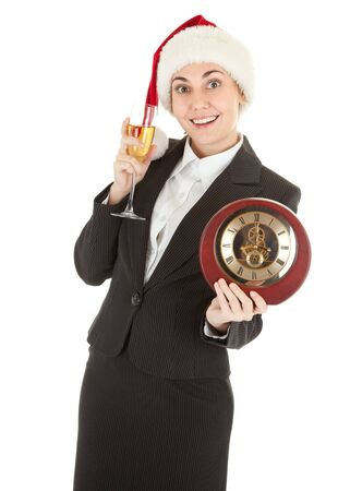 portrait of business girl in Santa hat and with champagne Stock Photo - 8145948