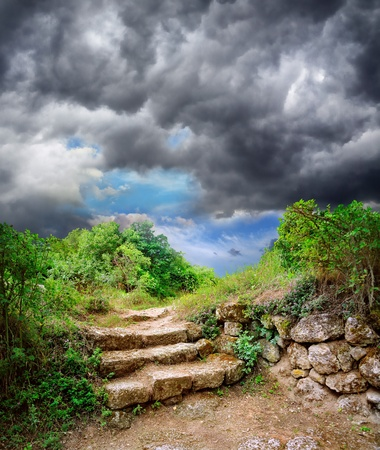 step stone staircase in the ruins of the ancient cave city Stock Photo - 8659163