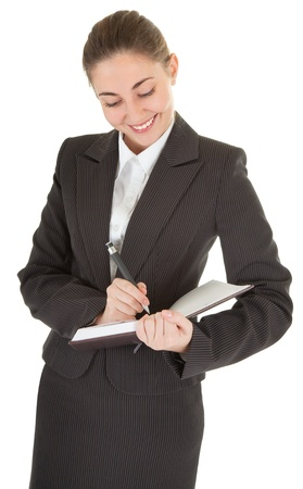 portrait of woman in business clothing with documents photo