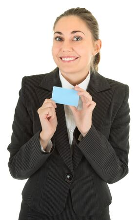 portrait of woman in business clothing with blank payment card photo
