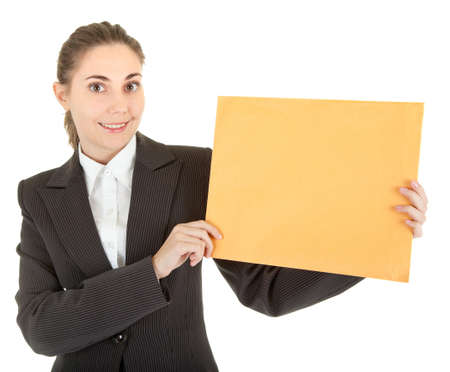 portrait of woman in business clothing with packet photo