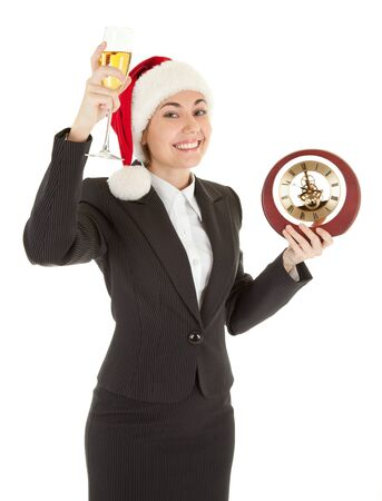 portrait of business girl in Santa hat and with champagne photo