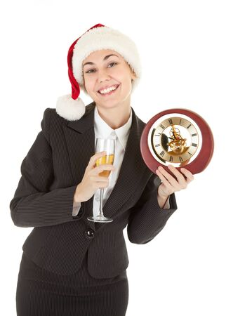 portrait of business girl in Santa hat and with champagne Stock Photo - 8658100