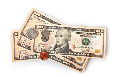 Dinero de los Estados Unidos de América - dólares.  billetes de 10 dólares y monedas de dos Foto de archivo - 8658361