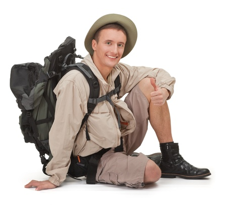 young man tourist on a white background Stock Photo - 8893592