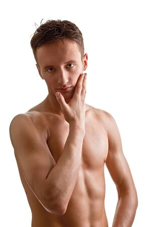 young man - sportsman with a bare torso Stock Photo - 8893136