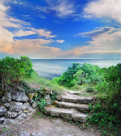 step stone staircase in the ruins of the ancient cave city Stock Photo - 9485408