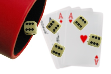 probable: simple playing bones on playing cards background