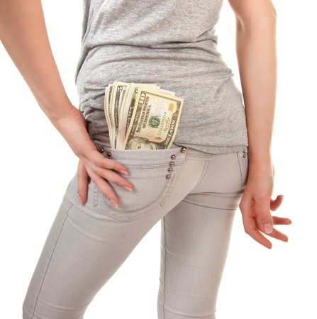 cash back: hooligan looking girl with the money on a white background