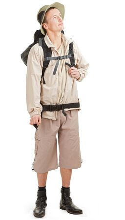 young man tourist on a white background