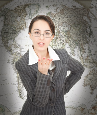 rigor: portrait of a business woman on map background Stock Photo