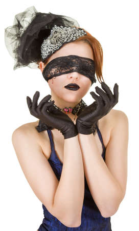 Girl blindfolded and dressed in underwear Stock Photo - 9484890