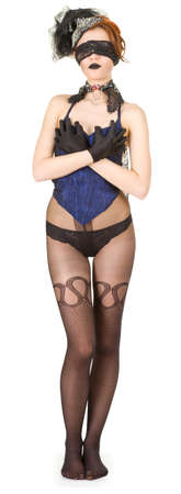 Girl blindfolded and dressed in underwear Stock Photo - 9472187