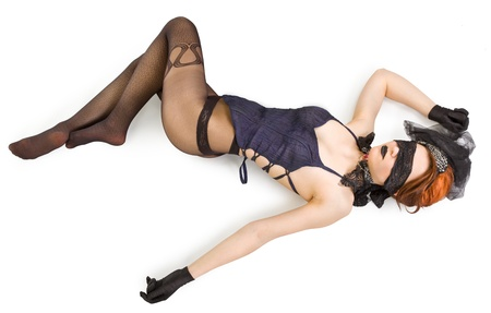 Girl blindfolded and dressed in underwear Stock Photo - 9484888
