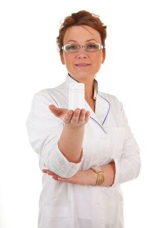 portrait of the medical worker on a white background. Focus on hand. photo