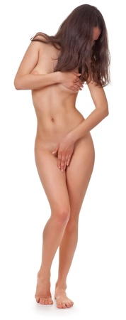 donna nudo: donna nuda corpo su sfondo bianco Archivio Fotografico