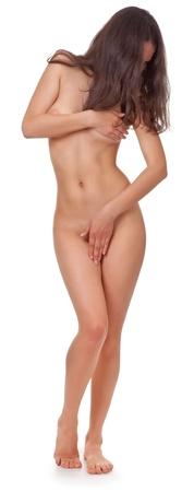 mujer desnuda: mujer desnuda cuerpo sobre un fondo blanco
