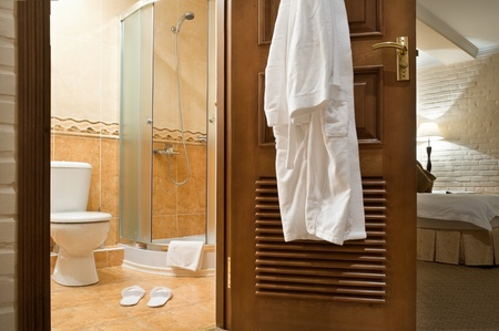 Interior. WC, bathrobe, shower cubicle. photo