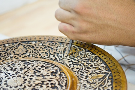 chisel: art of wood carving. Details threads.