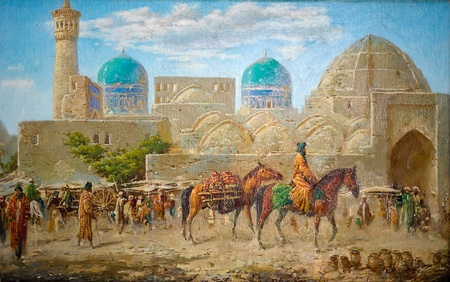 Fine (copy) paintings of the old eastern city photo