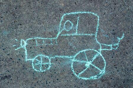child's drawing on asphalt. car Stock Photo - 10507810