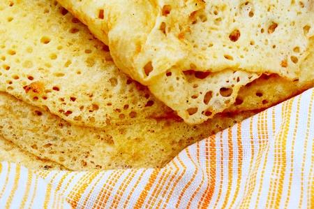 Fresh home-made pancakes are very close photo