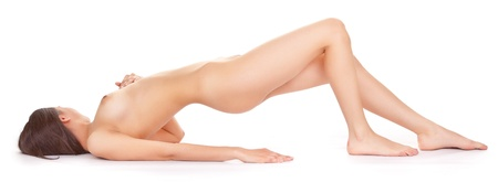 anatomy naked woman: body naked woman on a white background