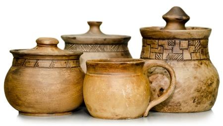 ollas de barro: Naturaleza muerta de alfarer�a, productos listos para la venta tarros