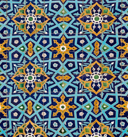 tiling: oriental pattern on wall of the mosque, lined with tiles