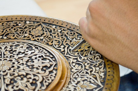 art of wood carving. Details threads. photo