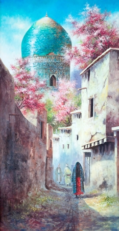 Fine  copy  paintings of the old eastern city Stock Photo