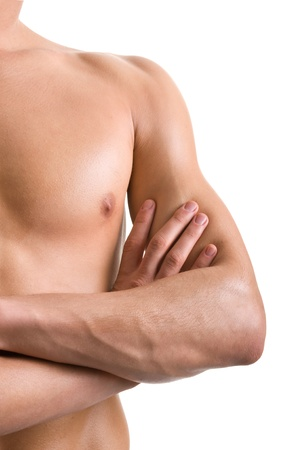 shoulder and arm naked male body (an athlete) Stock Photo