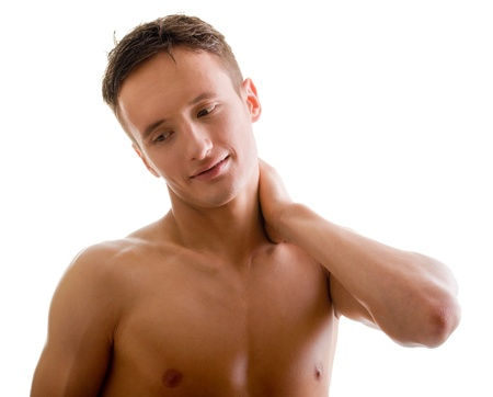 naked male: shoulder and arm naked male body (an athlete) Stock Photo
