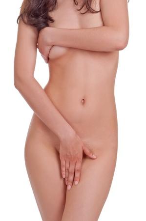 ragazza nuda: donna nuda corpo su sfondo bianco Archivio Fotografico