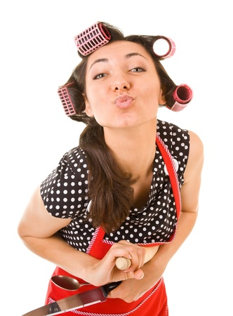 outrageous: outrageous housewife on a white background Stock Photo