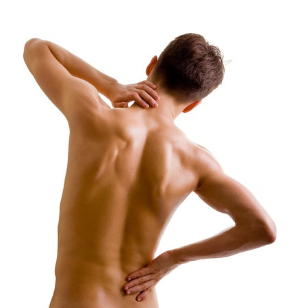 nude back: back and shoulder naked male body (an athlete) Stock Photo