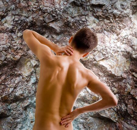 back and shoulder naked male body (an athlete) photo