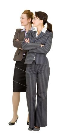 Portrait de deux femmes en tenue de bureau sur un fond blanc Banque d'images - 10923213