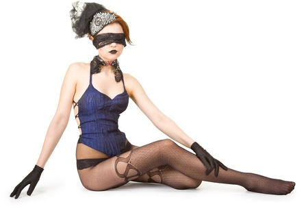 Girl blindfolded and dressed in underwear Stock Photo - 10923132