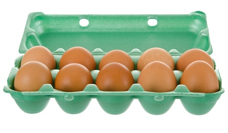 tray of chicken eggs on a white background photo