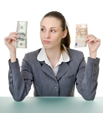 business woman holding a currency on a white background Stock Photo