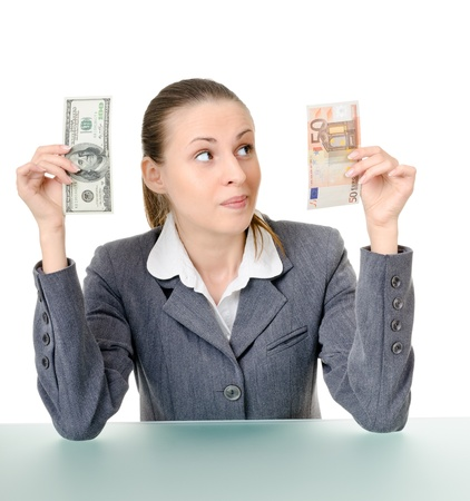 business woman holding a currency on a white background Stock Photo - 11180804