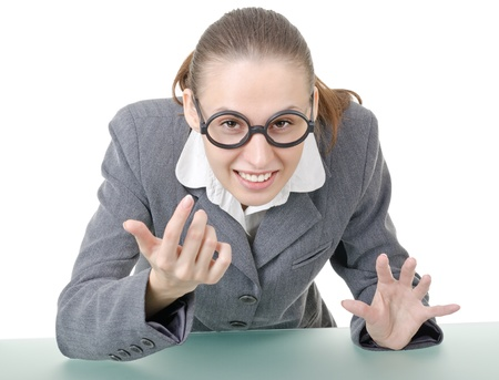 clowning: manager girl is engaged clowning in sham spectacles Stock Photo